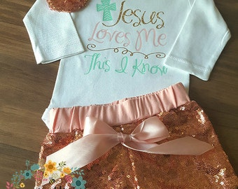 Custom Baby Girl Outfit Faith Onesie Pink Sequined Outfit Toddler Clothes Pink Glitter Headband and Shorts Baby Shower Gift Jesus Loves Me