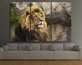 Lion Canvas Print Lion Wall Art Lion Wall Decor Lion Panel Art Lion Canvas Art Lion Home Decor Wild Cat Canvas Print Wild Cat Wall Art Set