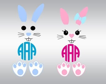 bunny face monogram ears SVG Clipart Cut Files Silhouette Cameo Svg for Cricut and Vinyl File cutting Digital cuts file DXF Png Pdf Eps