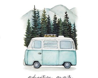 "VW Bus ""Adventure Awaits"" Road Trip in the Mountains, Original Art Print, 8x10"