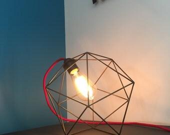 Geometric ICOSAHEDRON icosahedron table lamp light, minimalist sculpture steel table lamp, pendant, wire, art, design, p