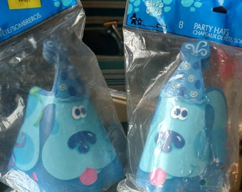 2 Packages of 8 Unopened Vintage Blue's Clues Birthday Party Hats