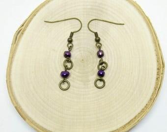 Purple and Brass Lightweight Boho Steampunk Dangle Earrings