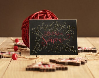 Digital Holiday Cards | Tis The Season Hand Lettered Christmas Cards: Calligraphy