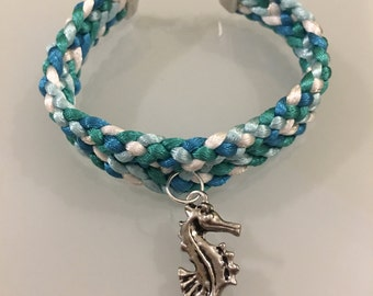 Ocean Themed Flat Kumihimo Bracelet