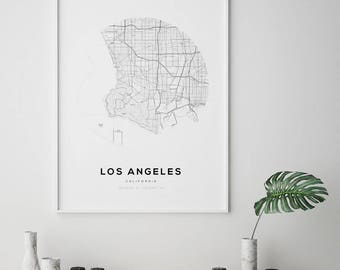 Los Angeles City Map, US City Map, City Map Art, California Map Print, Los Angeles Map Print, Los Angeles, California, LA Map Poster, LA