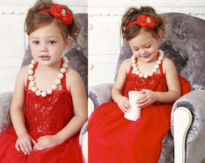 Red Baby Girls Tulle and Sequine Dress, PICK COLOR: Turquoise, Royal Blue, Red, Pink, Champagne, Aqua, baby girls tutu dress