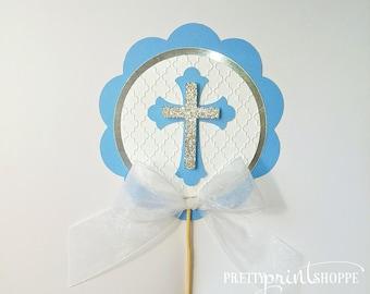 First communion centerpiece, baptism decor, baptism centerpiece, communion centerpiece, christening centerpiece, blue and silver centerpiece