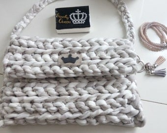 Modern knit handbag, knit bag, crochet bag, handbag, purse, chunky knit bag, cotton yarn bag, knitted handbag, handmade bag,
