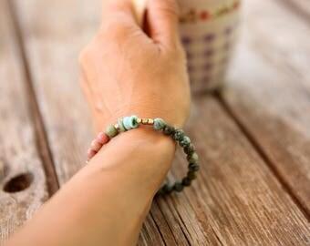Gemstone Bracelet, green bracelet, Beaded Bracelet, Stacking Bracelet, Womens Bead Bracelet, Gemstone Bracelet, Yoga Bracelet