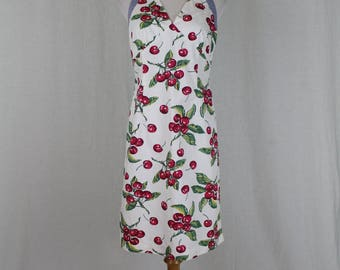 Vintage Tommy Hilfiger 1990's Retro Red Cherry Print Halter Neck Sundress 6