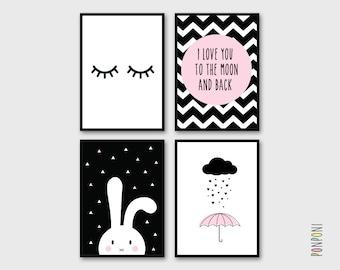 Pink Black Art Prints wall art, baby girl Nursery art wall art, black pink nursery, pink black pictures, wall art kids, girl room decor