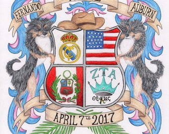 Custom Family Crest/ Coat of Arms: Hand Drawn, Family Heirloom, Wedding