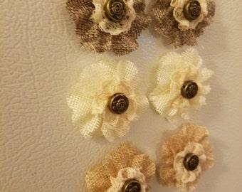 Burlap flower magnets