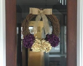 Purple Burlap Bow Hydrangea Wreath, Front Door Wreath, Hydrangea Wreath, Front Door Decor, Front Porch Decor, Burlap Wreath, Rustic Wreath