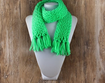 Knitted Con Amor - TODDLER Bright Green Hand Knitted Scarf - Knit Scarf, Kid's Scarf, Fringed Scarf, Handmade, Toddler Scarf, OOAK (145)
