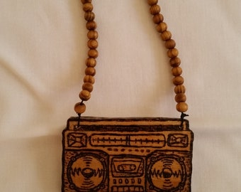 Oldschool stereo necklace , boom box necklace , ghetto blaster necklace , bboy necklace , oldschool hip hop necklace, wood bead necklace