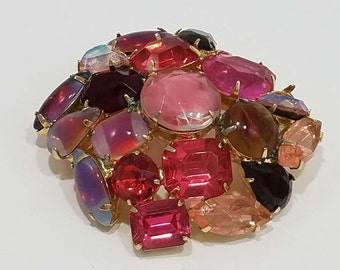 Pretty in Pink!  Stunning Multi-color Rhinestone Brooch