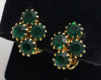 Classic Green Rhinestone Clip Earrings