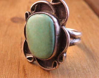 Vintage Turquoise Ring Sterling Silver Size 6 Natural Patina Look