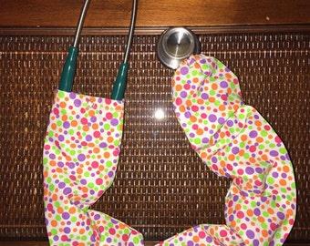 Stethoscope cover, polka dot pattern (purple/orange/pink/green)