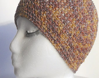 Ladies Classy Brown and Gold Metallic Hat