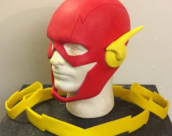 New 52 Flash style cowl/ mask with attached ear bolts