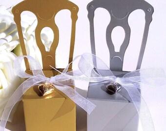 100 Wedding Favor Box with Heart Pendant/Gold Wedding Chair Gift Box/DIY Silver Wedding Chair Place Card/DIY Wedding Guest Favor Heart Jewel