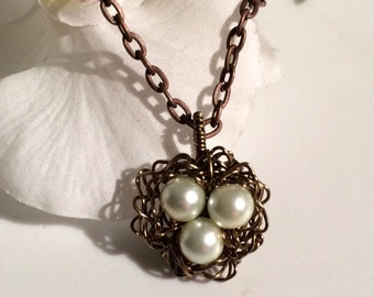 Bird Nest Necklace White Glass Pearls Wire Wrapped Bird Nest, Hand Crafted Motherhood Gift New Mother Baby Shower Gift