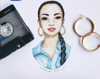 Print of my illustration of singer Sade.