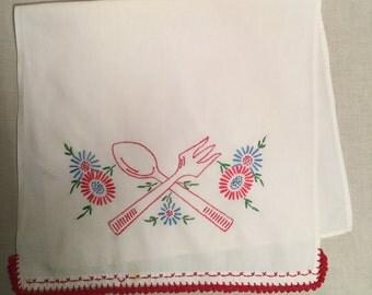1950s kitchen Cotton Hand Towel