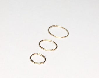Filled 14k gold hoop earrings, Small gold cartilage earring, 22g gauge thin wire nose ring hoop Gold helix tragus hoop 10mm 8mm 6mm Tiny 20g