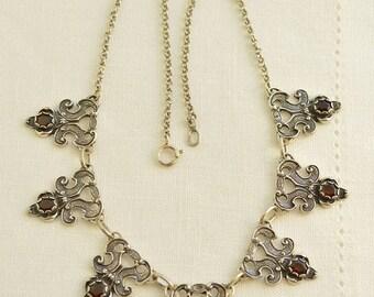 Vintage GARNET Silver 835 Choker Necklace, Garnet Jewelry