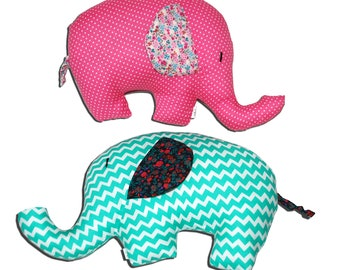 Baby Elephant Pair - Green Pink