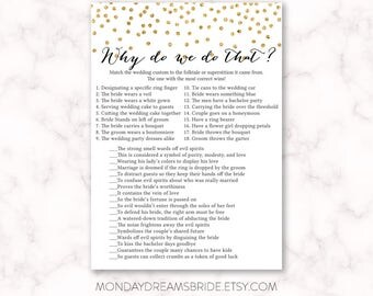 Printable Why do we do that Bridal Shower Game Gold Glitter Confetti, Gold Confetti Gold Glitter Bridal Shower Game, Wedding BRS1A GM023