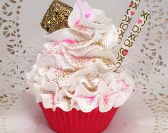 Pink and Gold Fake Cupcake, Candy, xoxo straws, Valentine or Wedding Faux Cupcake Decor, Shower Accents, Valentine Gift, Photo Props