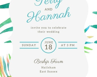 TROPICAL INSTANT DOWNLOAD Wedding Invite