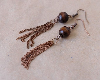 Copper color chain tassel earrings with wooden beads