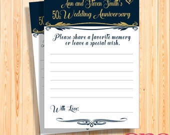 50th Wedding anniversary memory card, Printable, Custom, Personalised gold navy glitter, Gold wedding party game, blue favor we still do
