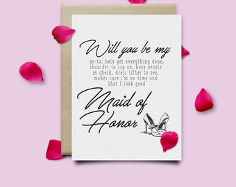 Will you be my maid of honor card  + Envelope - Maid of Honor - Proposal - Ask Bridesmaid - Invitation - Wedding Card - Bridal Party Gift