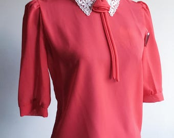 ON SALE!!! 80s Vintage Sheer Red Rayon Rose & Lace Peter Pan Collar Blouse [Never Worn] (m-l)