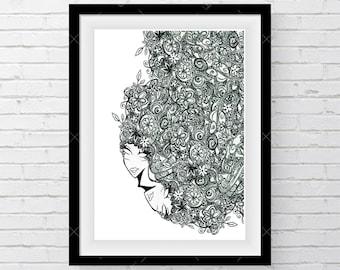 Doodle Art, Printable Wall Art, Digital Print, Instant Download, Digital Download, Modern Decor, Handsketch, Sketch Gift