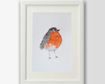 Origineel roodborstje schilderij- vogel schilderij- animal painting- originele aquarel- wallart-oiseau-birdlovers- watercolor robin