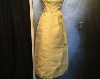 1950s yellow chiffon prom dress -XS/S