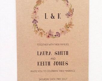 Rustic floral wedding invitation stationery