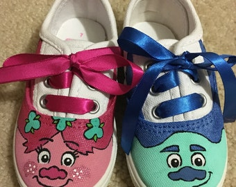 Custom Trolls canvas sneakers - toddler and kid sizes