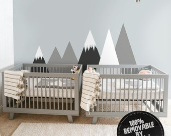 Mountains wall decal, Removable, Self adhesive wall decor for kids room, Nursery, Repositionable, Peel and Stick, Wall sticker #45