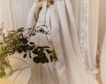Elegant White Wedding Cloak