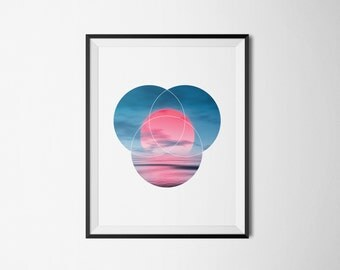 Warm Sun Over Cold Waters - Printable Art, Photography, Sun, Sea, Red, Geometric, Stampe, Graphic Print, Poster, Photo, Circles, Room Decor