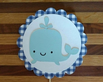 Gingham Blue Whale Cake Topper